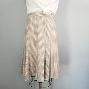 Vintage gingham linen blend full skirt